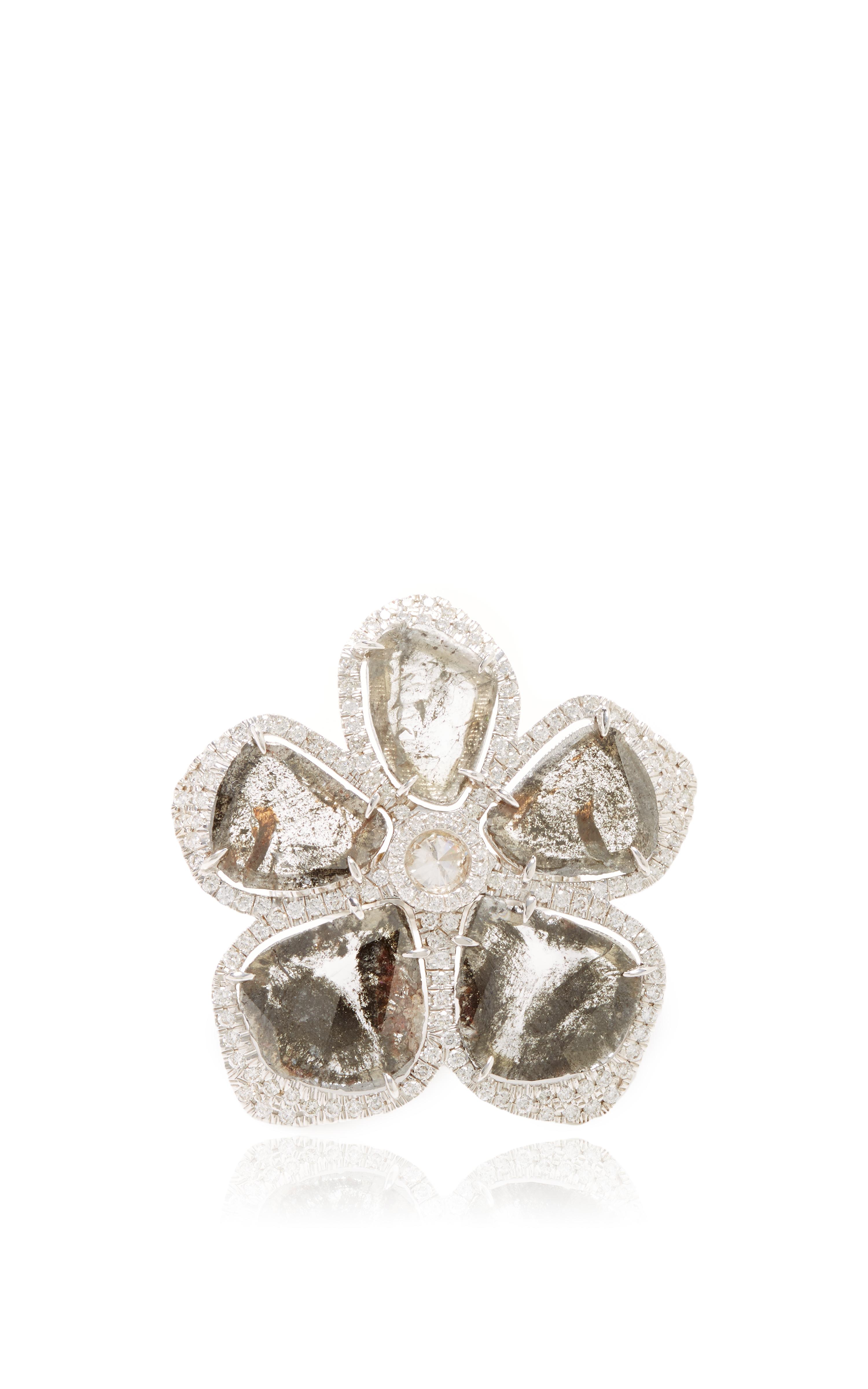 Nina runsdorf 18K White Gold And Diamond Slice Flower Ring in Silver