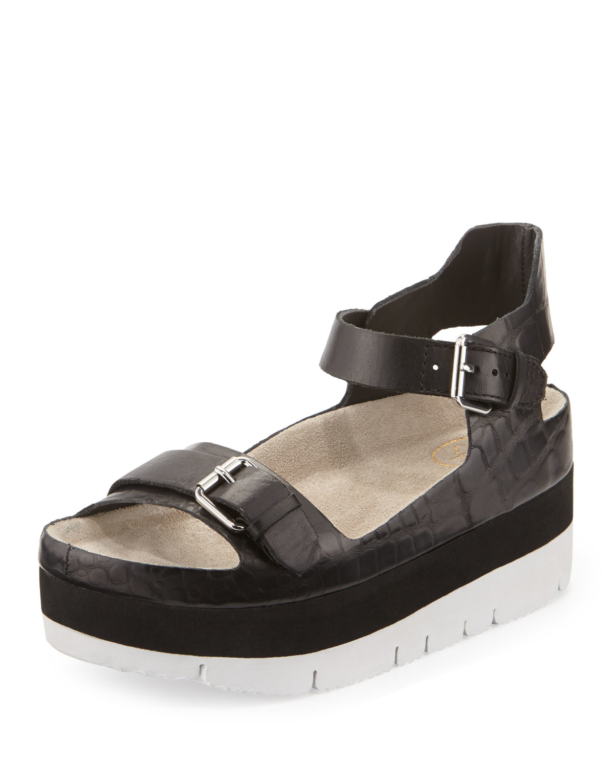 725a39a921a5 Lyst - Ash Vera Crocodile-embossed Leather Sandal in Black