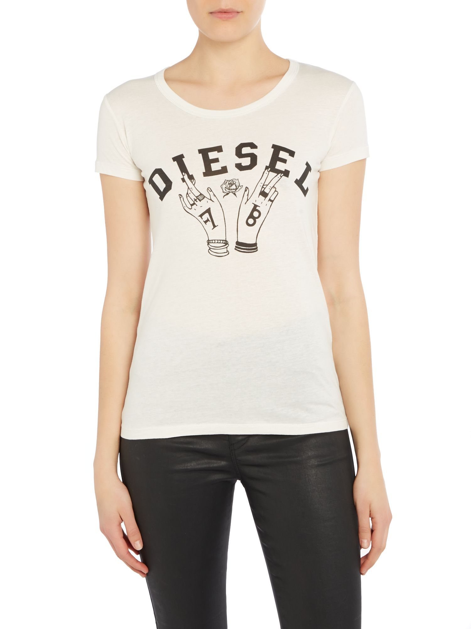 Lyst diesel t mons f logo printed t shirt in natural for Logo printed t shirts