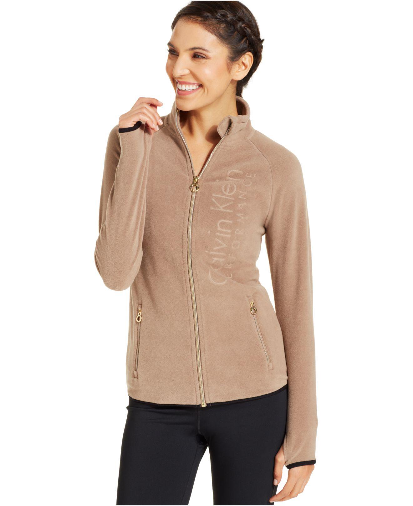 Calvin klein Performance Logo Fleece Zip-Up Jacket in Natural | Lyst