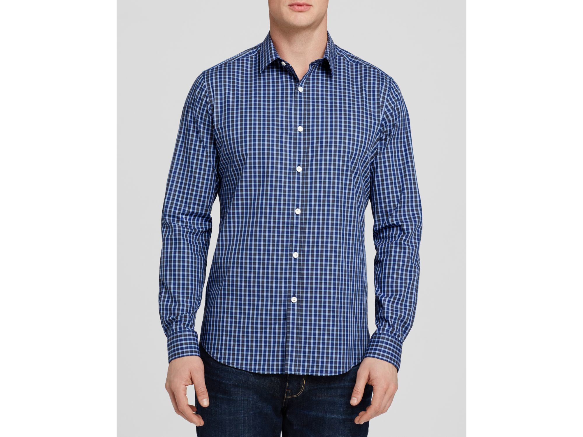 Lyst Theory Woven Button Down Shirt Slim Fit In Blue