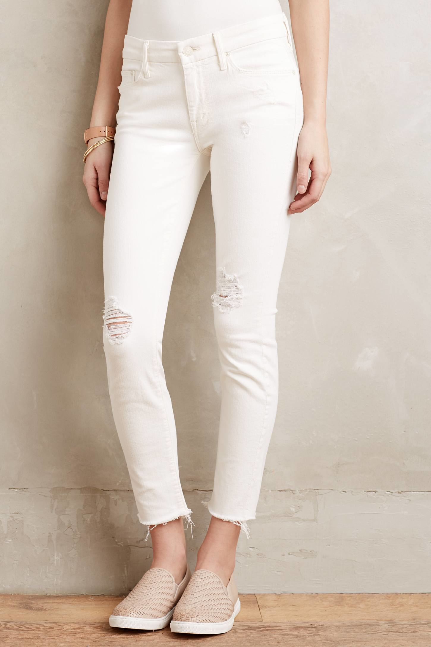 Mother Looker Ankle Fray Jeans in White | Lyst