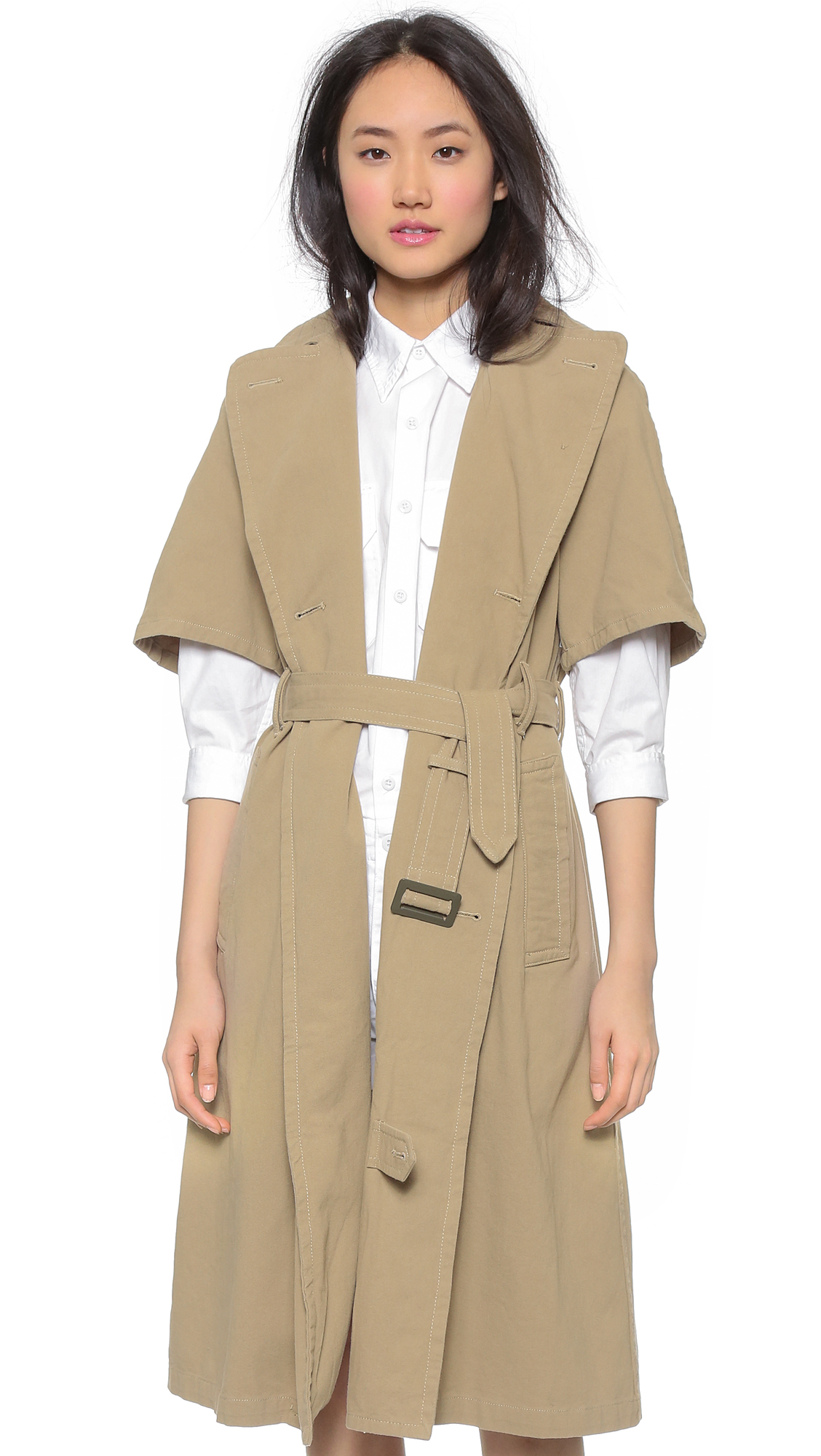 Nlst Short Sleeve Trench Coat - Khaki in Natural | Lyst