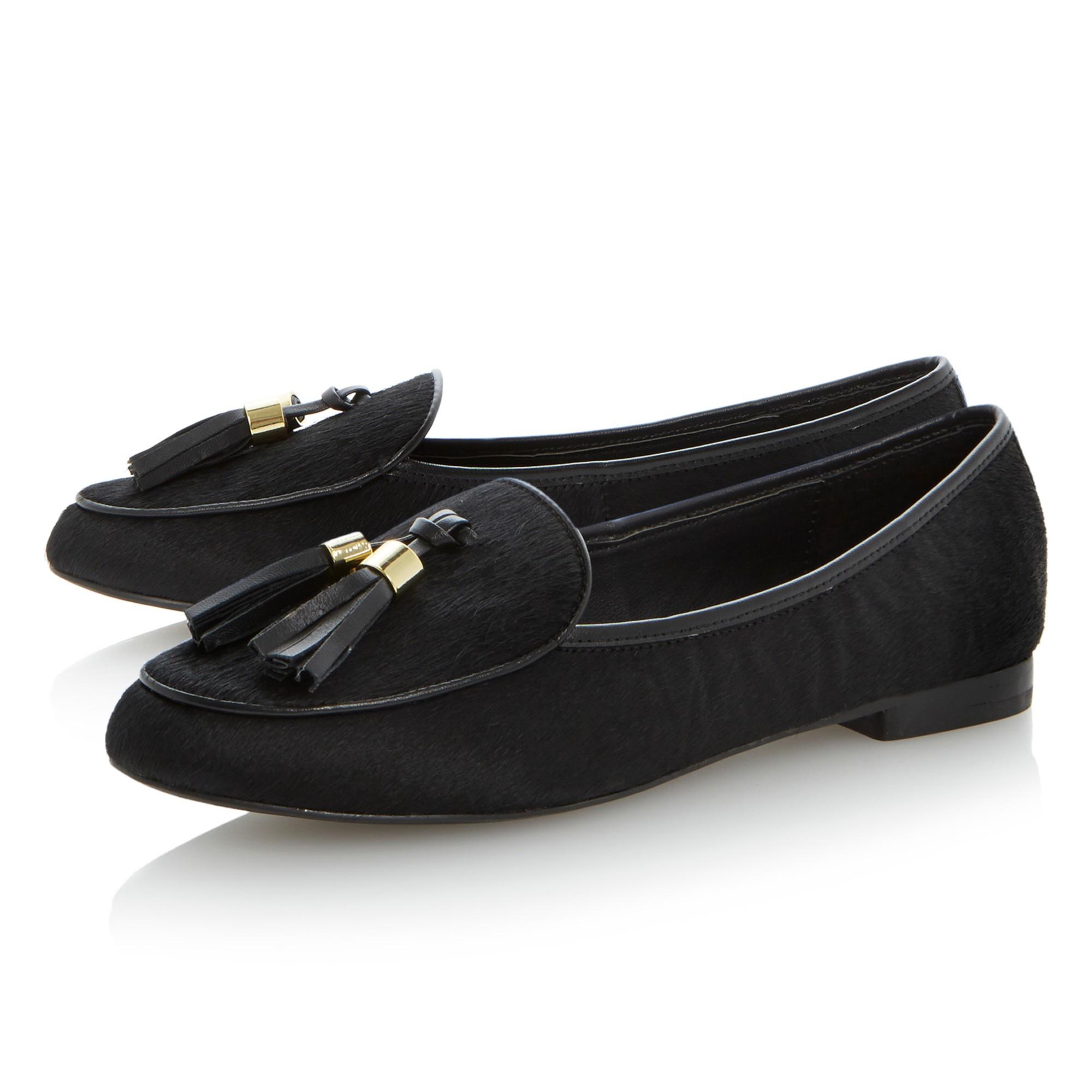 cd1d766c2ba Steve Madden Lunni Pony Tassle Flat Loafers in Black - Lyst