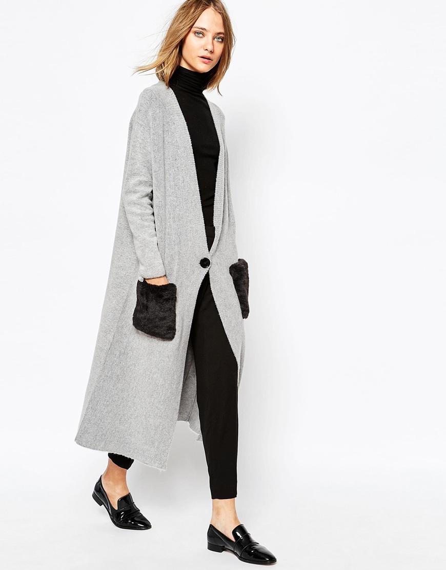 Gat rimon Aelle Longline Cardigan In Gray in Gray | Lyst