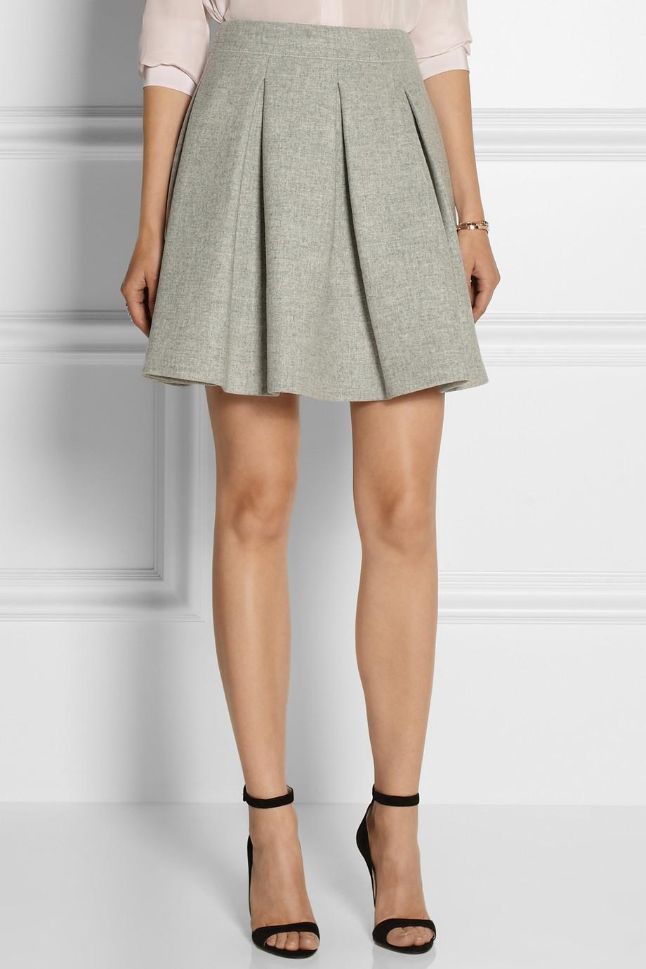 Miu miu Pleated Wool Mini Skirt in Gray | Lyst