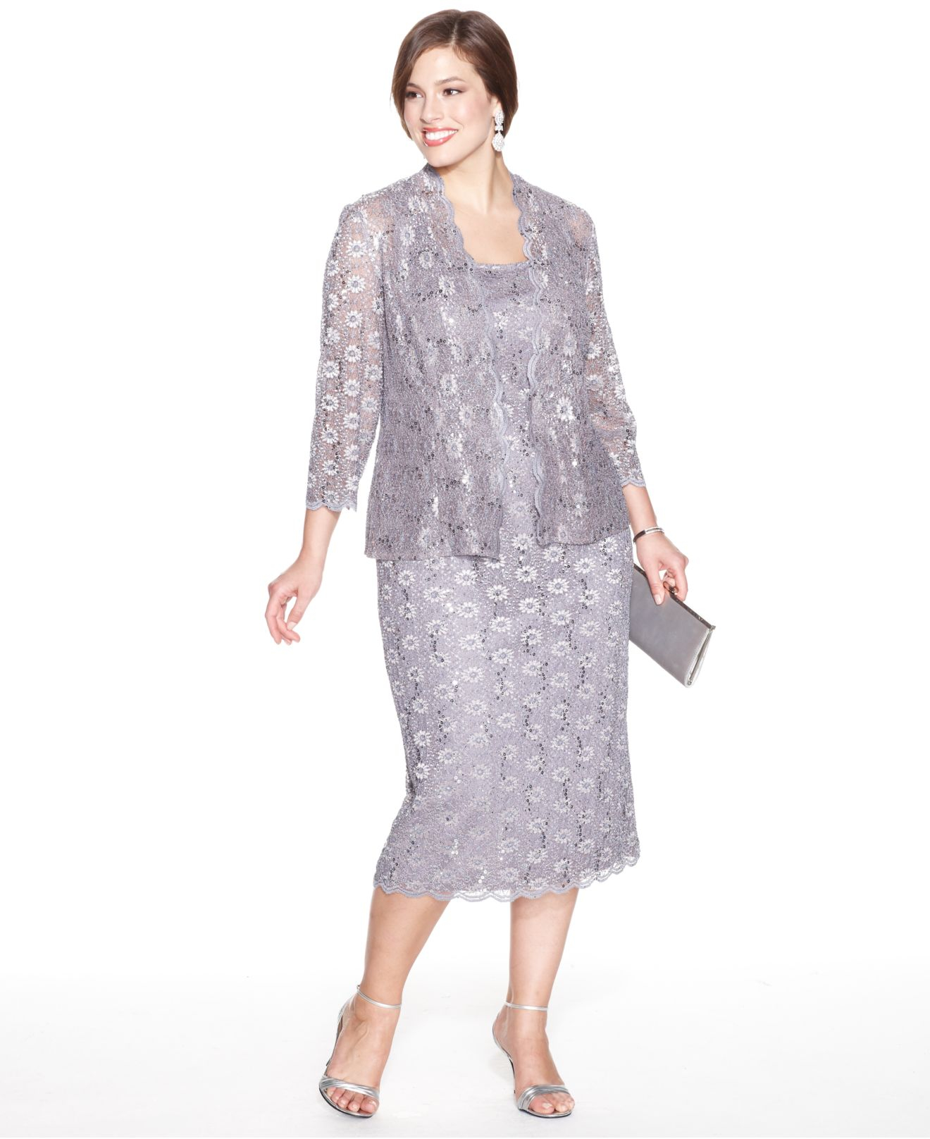cdbab797c1 Alex Evenings Plus Size Sequin Lace Dress And Jacket in Gray - Lyst
