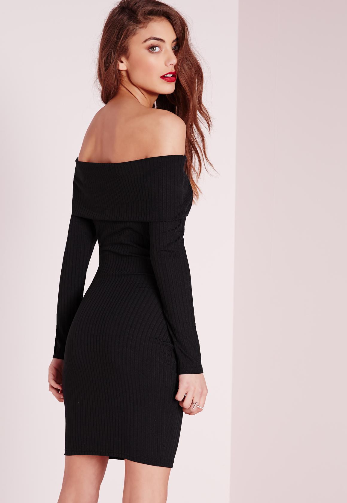 Black sequin long sleeve bardot bodycon dress