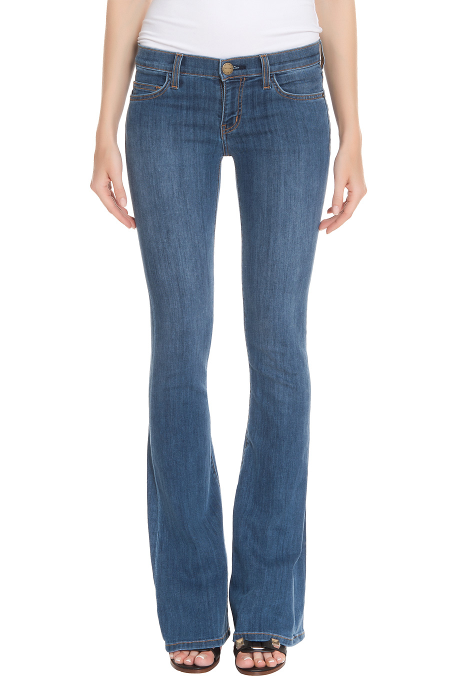 Lyst Current Elliott The Low Bell Flare Jean In Blue