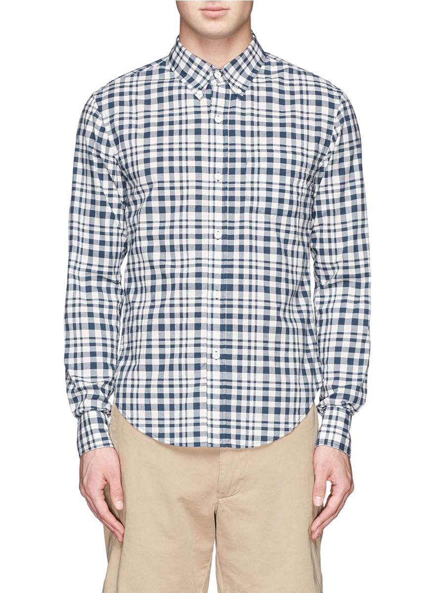 Band Of Outsiders Button Down Collar Plaid Shirt In Green
