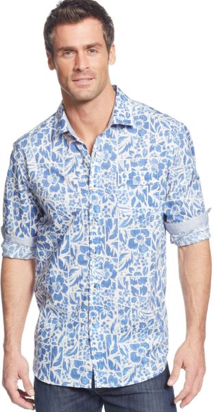 Tommy bahama tropical breaker print shirt in blue for men for Tommy bahama christmas shirt 2014