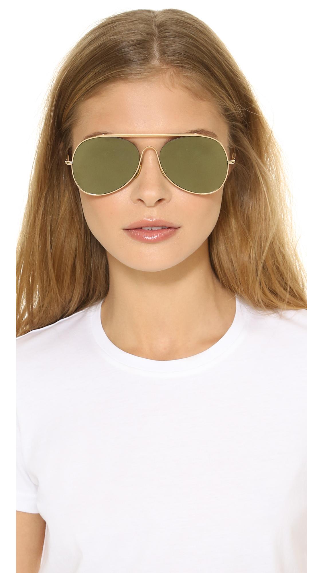 large aviator sunglasses  Acne studios Large Aviator Sunglasses - Palladium/silver Mirror in ...