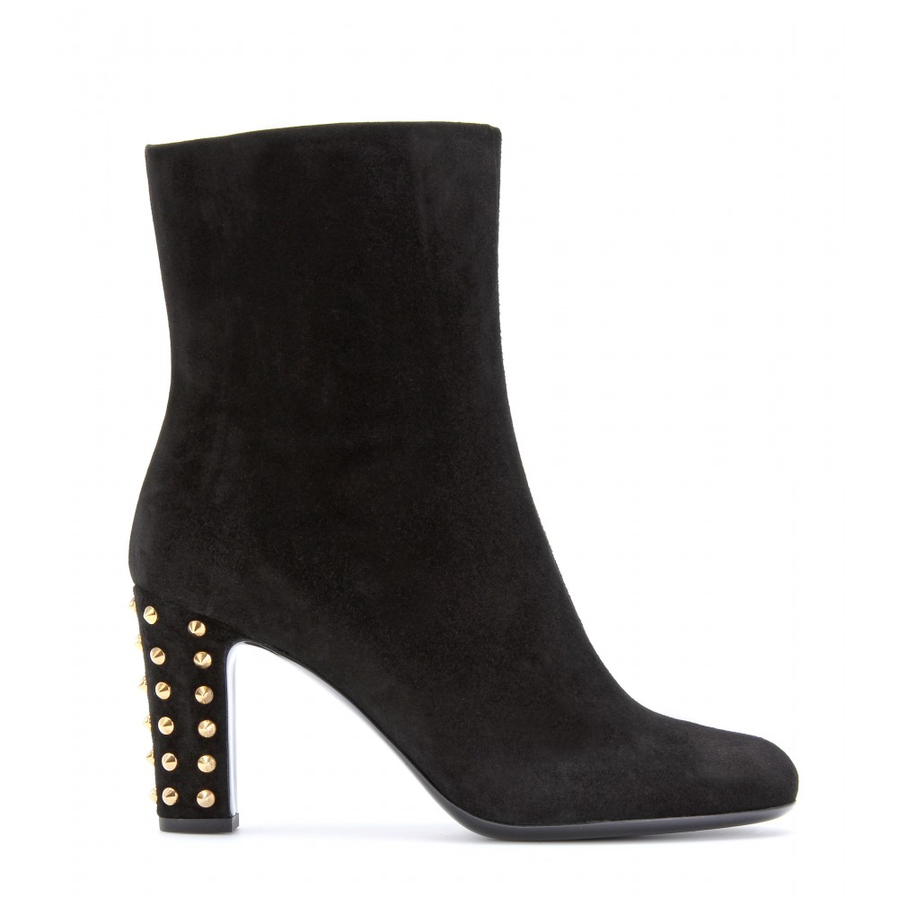 gucci jacquelyne suede ankle boots with studded heel in