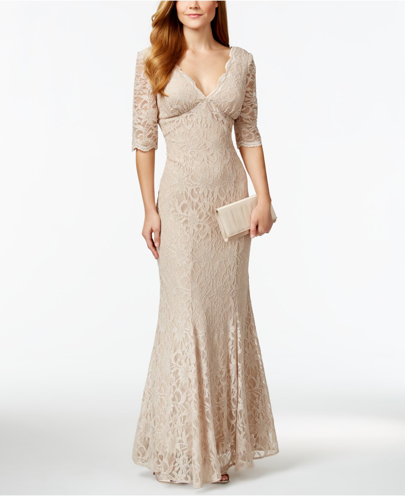 86a827f731176 R & M Richards R&m Richards V-neck Glitter Lace Trumpet Gown - Lyst