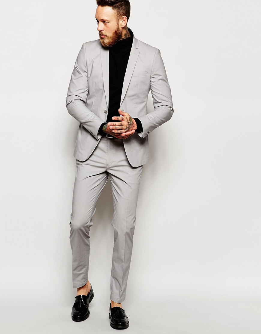 Asos Skinny Suit Trousers In Grey Poplin in Gray for Men | Lyst