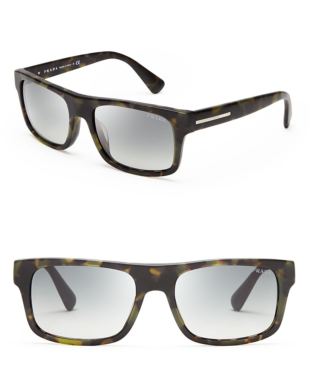 prada wayfarer sunglasses in green for matte green