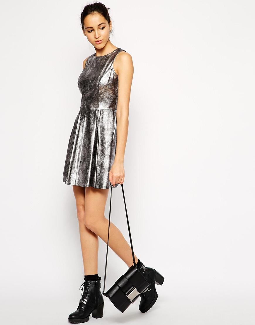 Lyst - Muubaa Ceylon Leather Skater Dress in Gray 20a1122ce