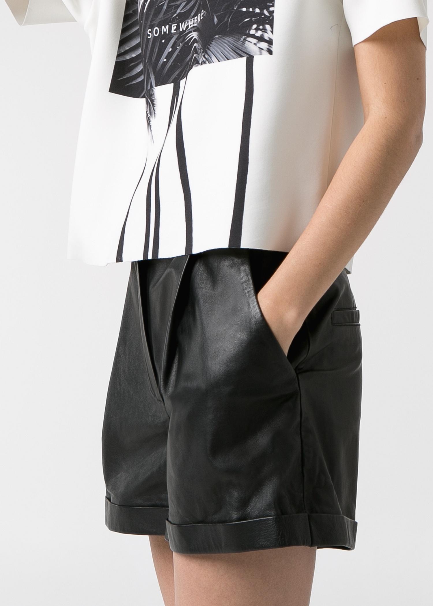 Mango High-Waist Leather Shorts in Black | Lyst