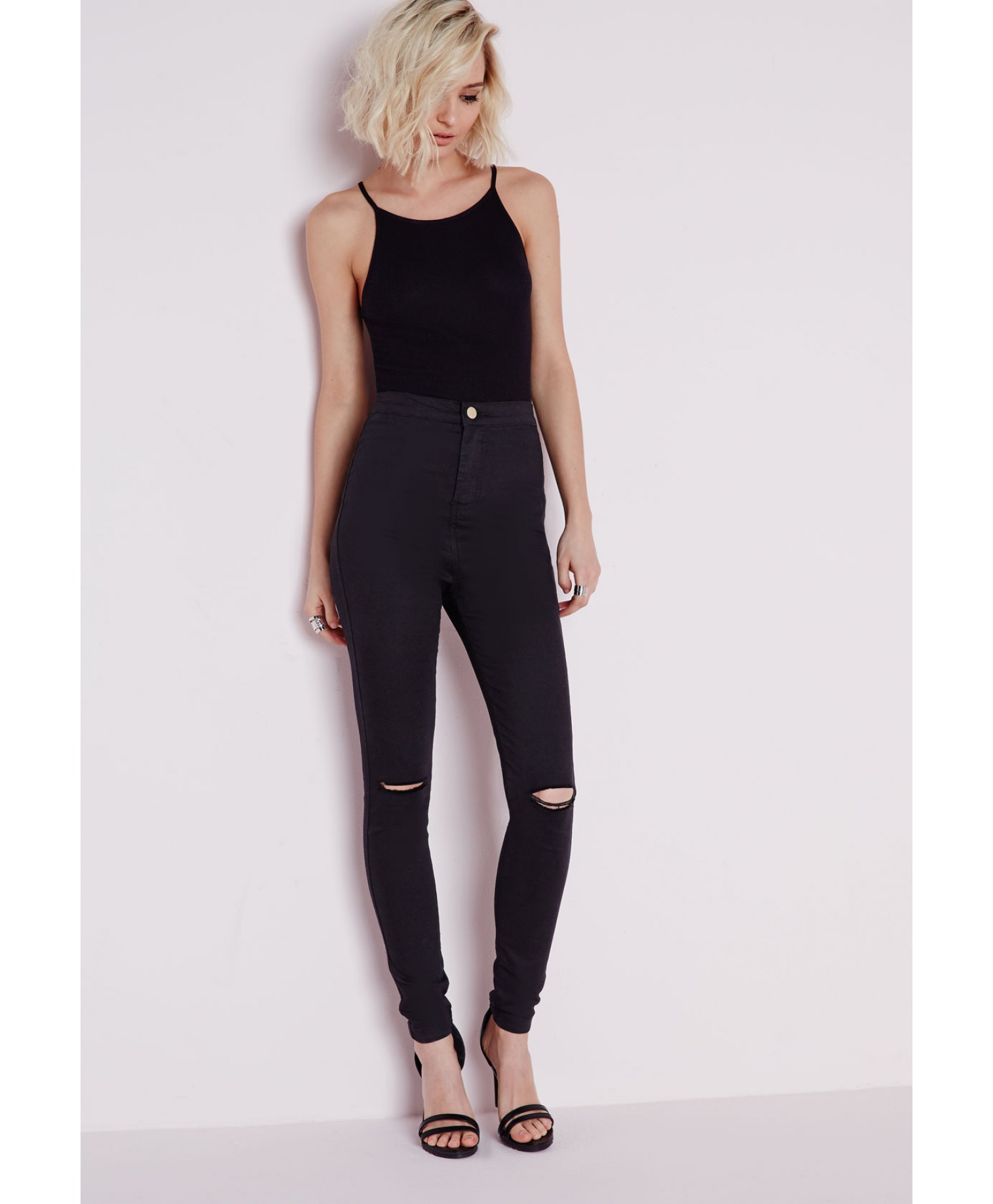 Missguided High Waist Ripped Knee Skinny Jeans Black in Black | Lyst