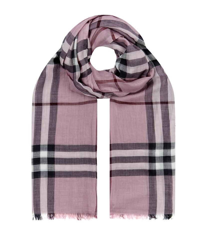 burberry check wool silk scarf in purple lyst