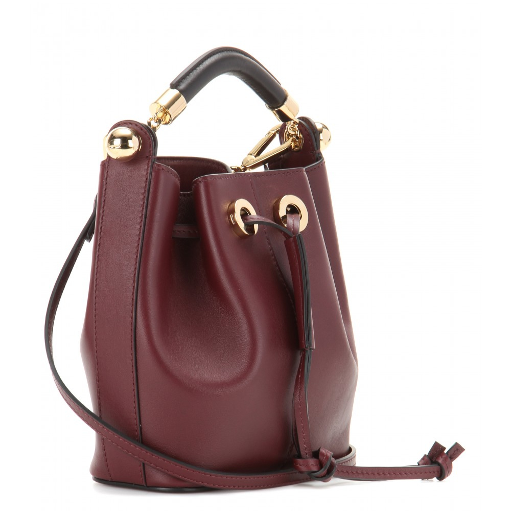 Chlo�� Gala Small Leather Bucket Bag in Purple | Lyst