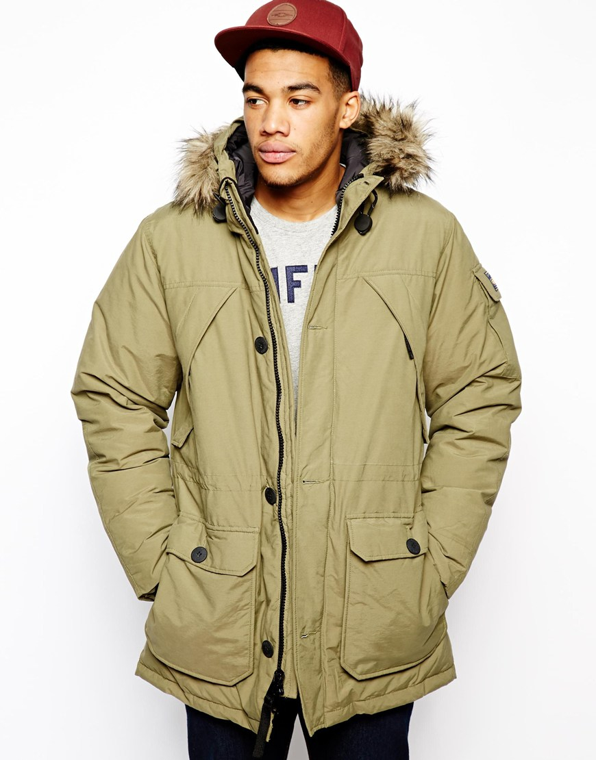 Penfield Hoosac Parka with Faux Fur Hood in Green for Men | Lyst