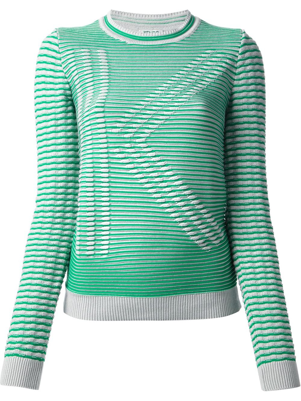 lyst kenzo k ribbed intarsia sweater in green. Black Bedroom Furniture Sets. Home Design Ideas