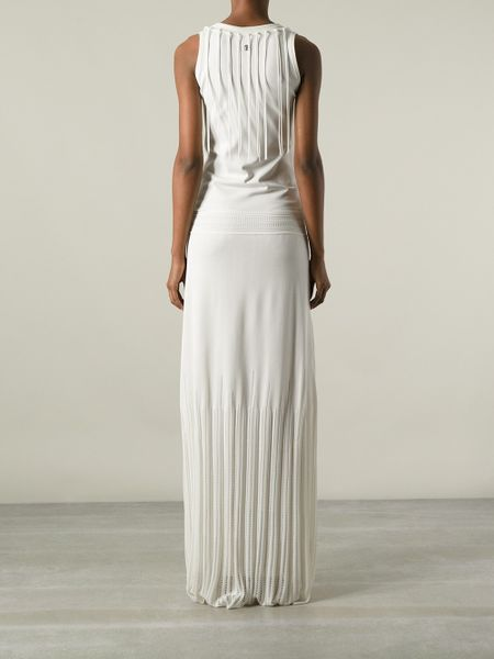 Roberto Cavalli Fringed Evening Dress In White Lyst