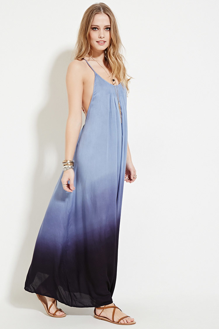 27ad82c5403 Forever 21 Boho Me Pleat Ombre Maxi Dress in Blue - Lyst