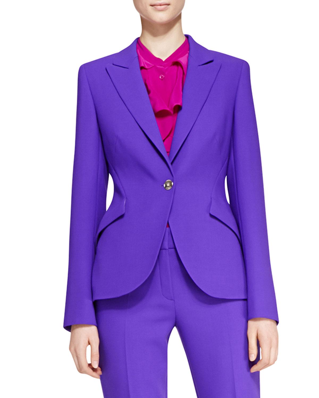 Escada Long-Sleeve Wool Blazer in Purple | Lyst