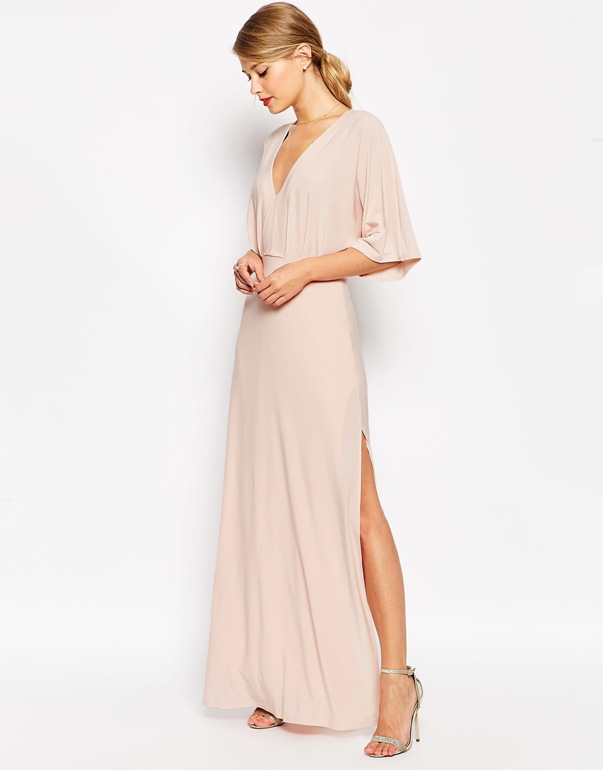 asos kimono plunge maxi dress in beige nude save 50. Black Bedroom Furniture Sets. Home Design Ideas