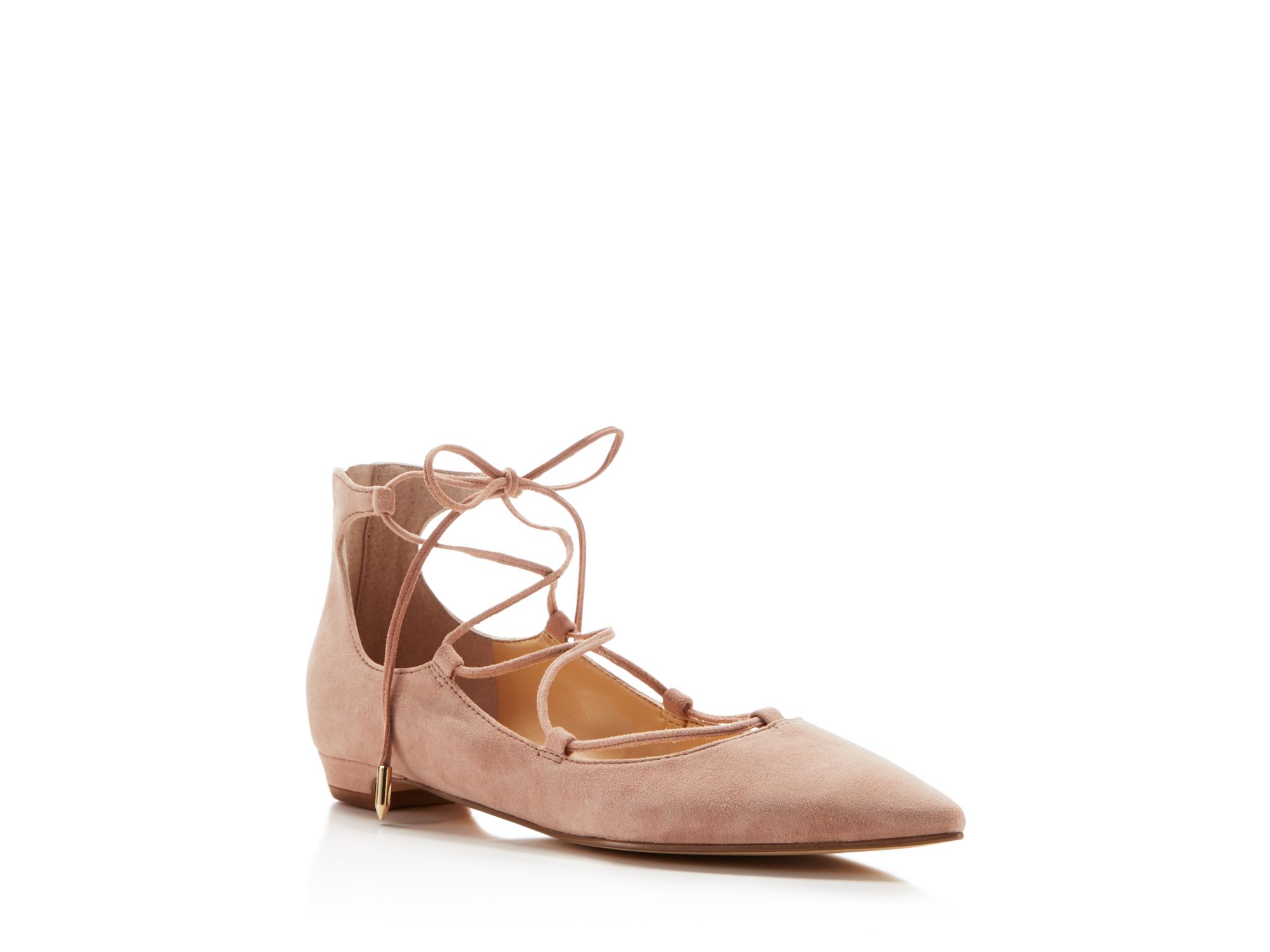 Pink Lace Up Flat Shoes