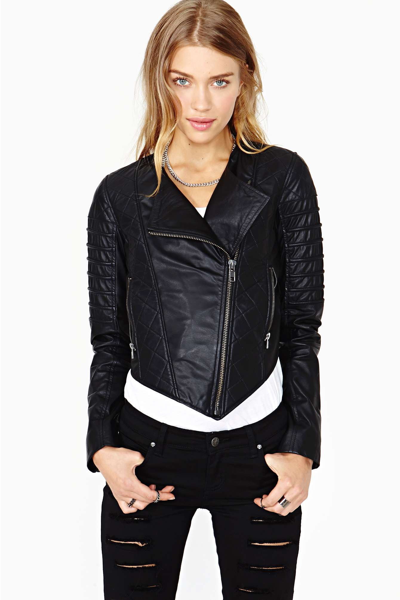 Lyst Nasty Gal Quilted Leather Moto Jacket In Black