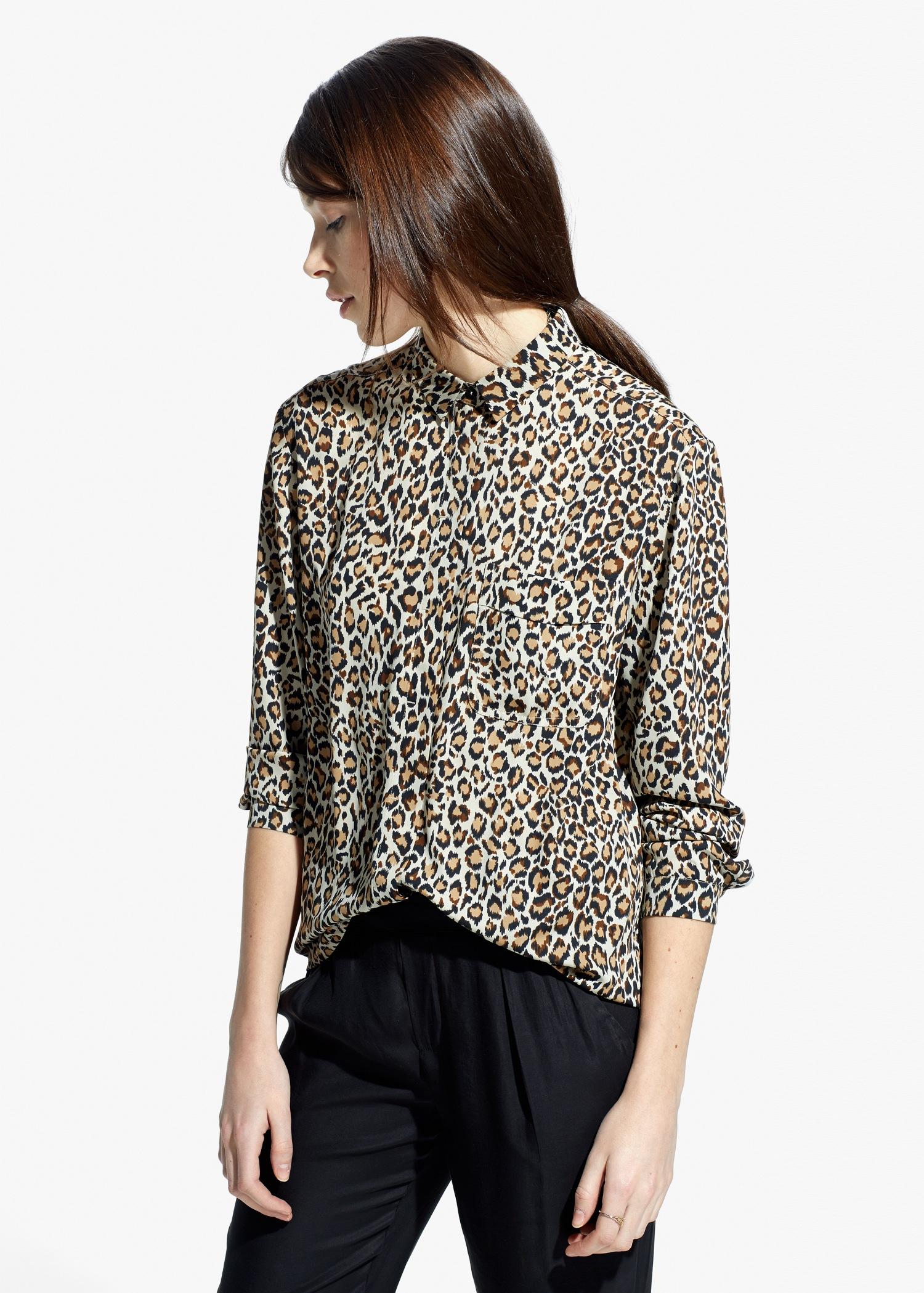 3844aad621b9ed Lyst - Mango Leopard Print Shirt in Gray