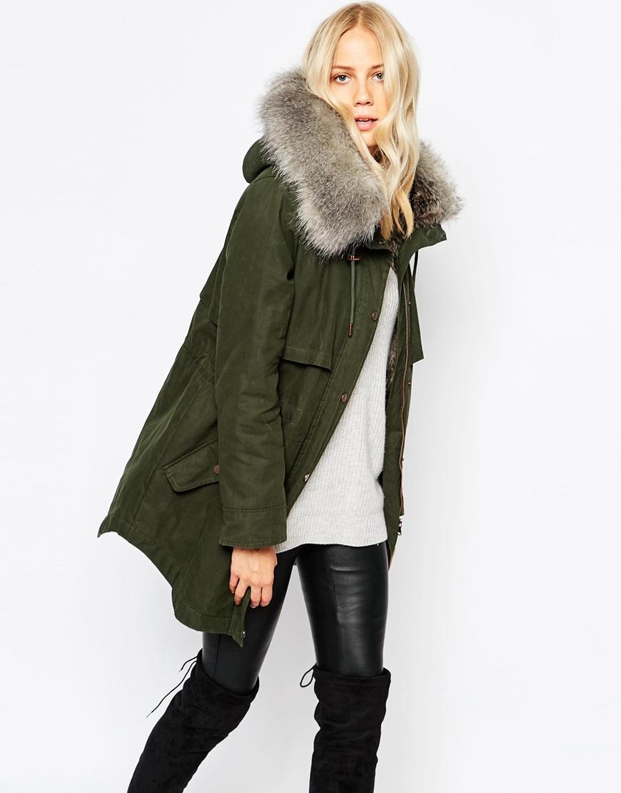 Lyst Parka London Lara Hooded Coat In Waxed Cotton In Green
