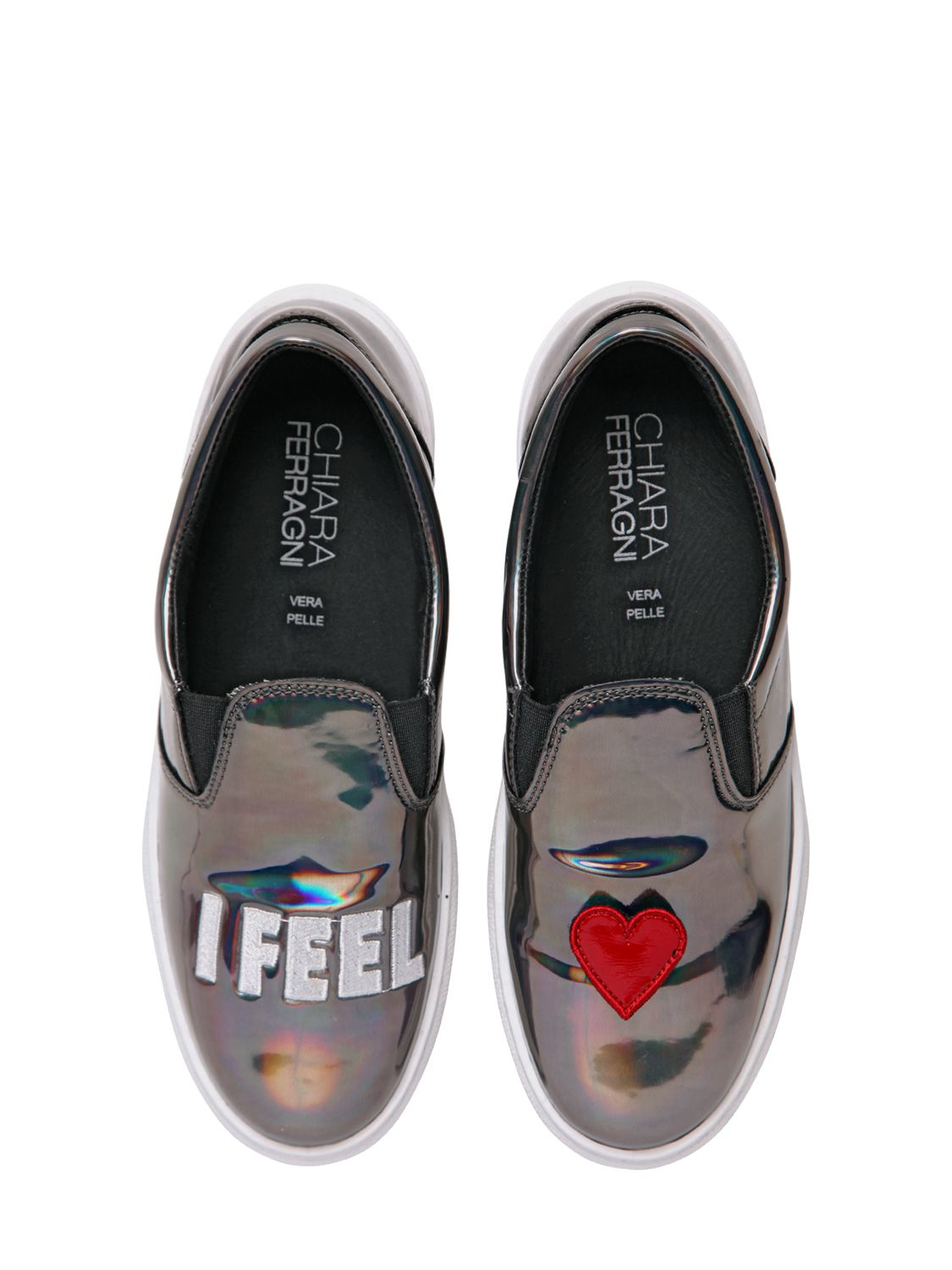 chiara ferragni 30mm i feel iridescent leather shoes in metallic lyst. Black Bedroom Furniture Sets. Home Design Ideas
