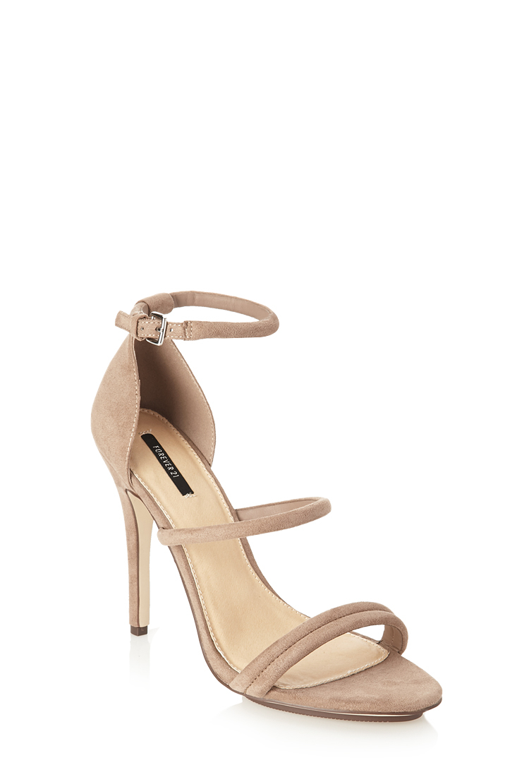 c6b58f5d01a Lyst - Forever 21 Faux Suede Strappy Sandals in Natural