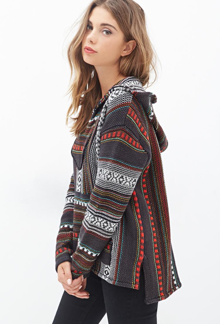 Lyst - Forever 21 Striped Baja Hoodie