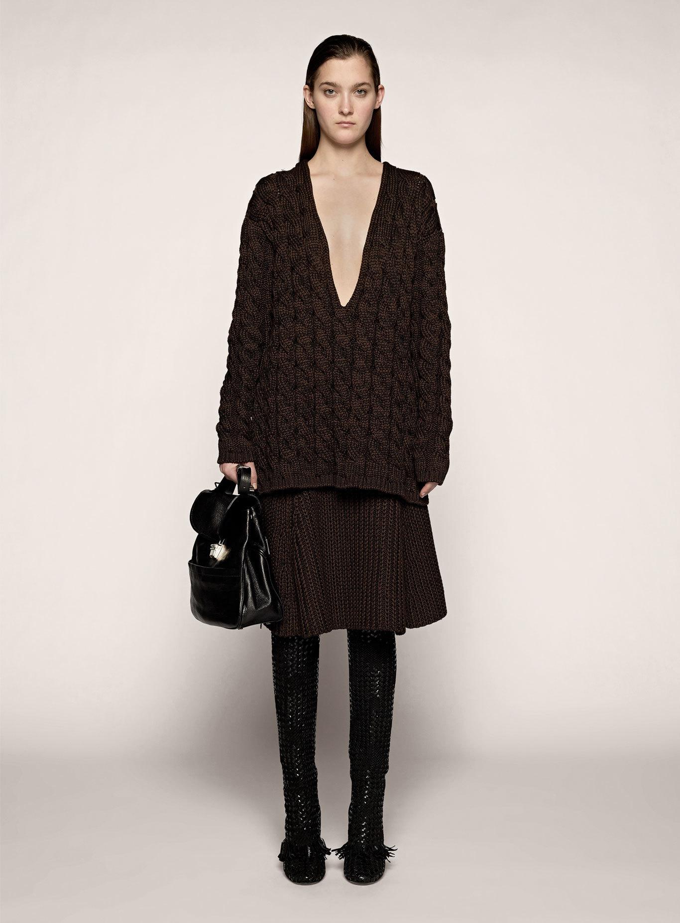 proenza schouler knit a line skirt in black chocolate
