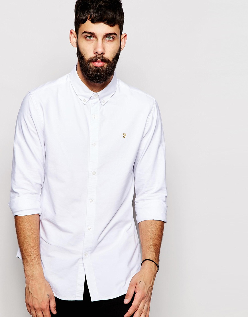 Lyst Farah Oxford Shirt In Regular Casual Fit White In