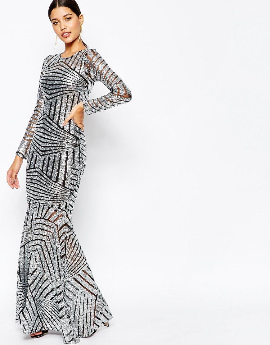 f2ee7469533 Club L All Over Sequin Fishtail Maxi Dress in Metallic - Lyst