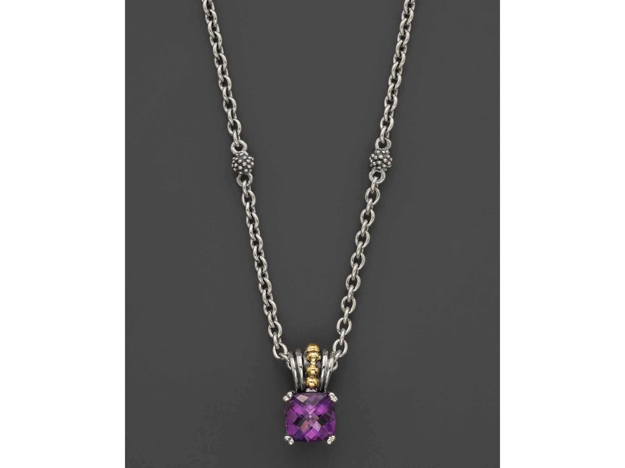 Lyst lagos 18k green gold and sterling silver prism amethyst gallery aloadofball Image collections