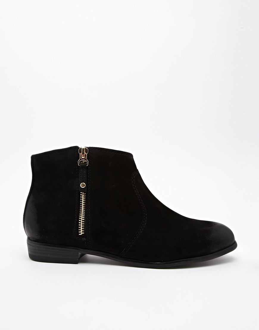 Aldo Oneriwien Black Zip Side Flat Ankle Boots in Black | Lyst