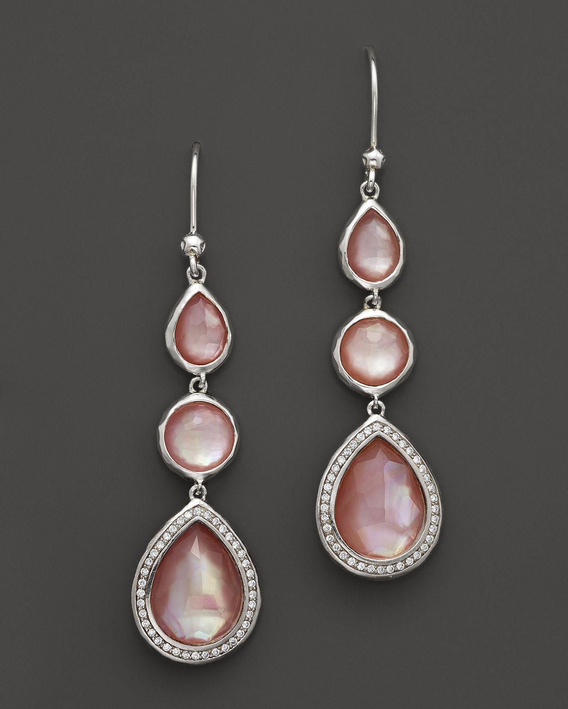 Pink pearl drop earrings