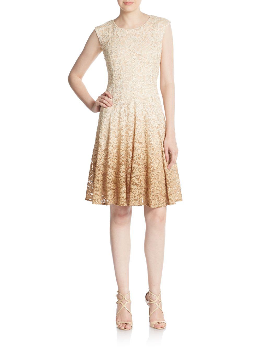 bad32be8 Chetta B Glitter Lace Fit-and-flare Dress in Metallic - Lyst