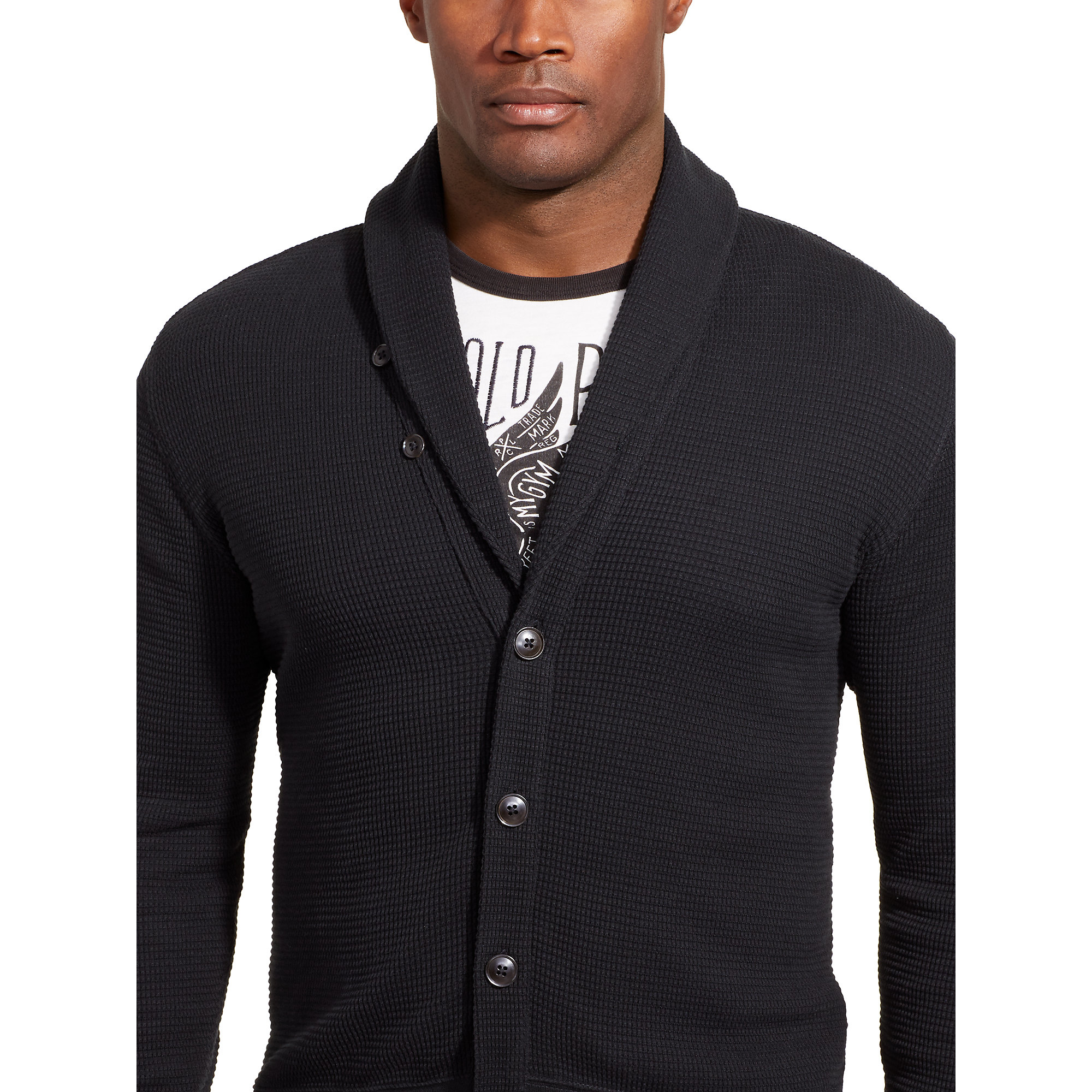 Pink pony Waffle-knit Cotton Cardigan in Black for Men   Lyst