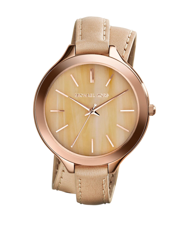 d07edd207818 Michael Kors Slim Runway Watch Rose Gold Leather Strap - Image Of ...