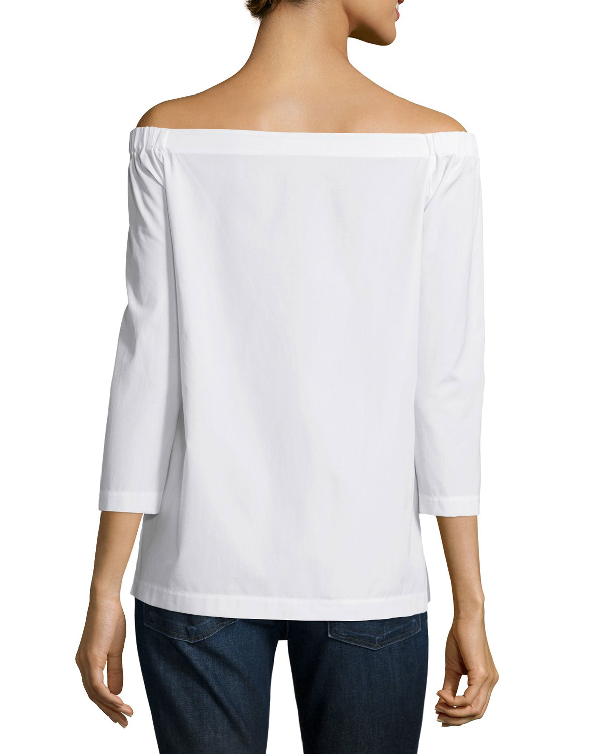 fbbbcc37949776 Theory Vinata Sartorial Off-the-shoulder Top in White - Lyst