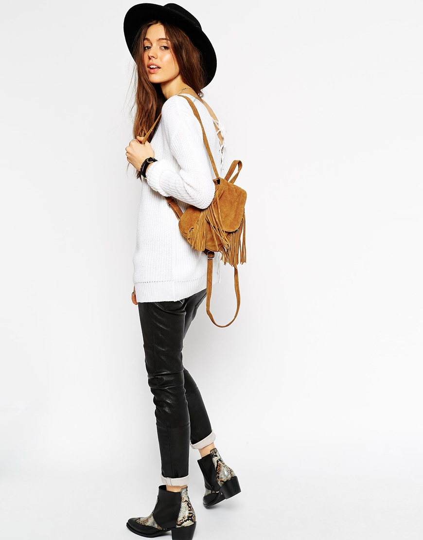 Lyst - ASOS Sweater With Lace Up Back Detail in White 81a055d98
