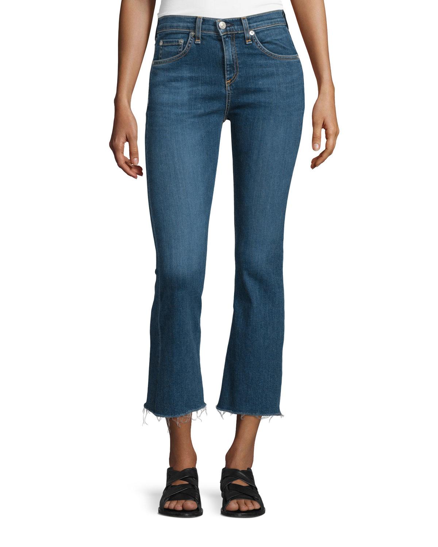 rag bone mid rise cropped flare leg jeans in blue paz lyst. Black Bedroom Furniture Sets. Home Design Ideas